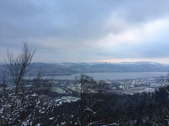 Hiking di gunung bersalju Uetliberg di Zurich, Swiss. Seru banget !